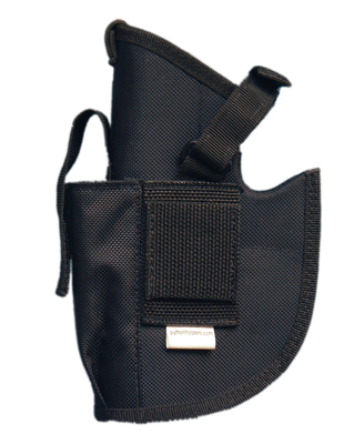 Picture of Black fabric holster for 40 & 45 handgun with laser attached.